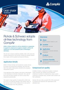 Rhode and Schwarz Adopts Oil-free Technology from CompAir