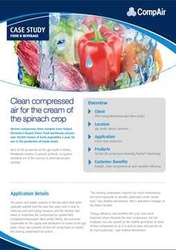 Clean compressed air for the cream of the spinach crop