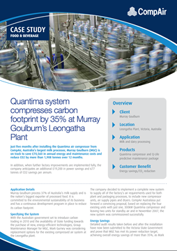 Quantima system compresses Case Study Food and Beverage Murray Goulburns