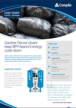 Gardner Denver dryers keep BPI Heanors energy costs down