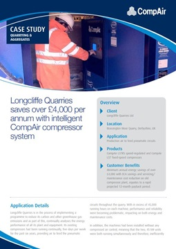 Longcliffe Quarries saves over 4000 per annum with intelligent CompAir compressor system